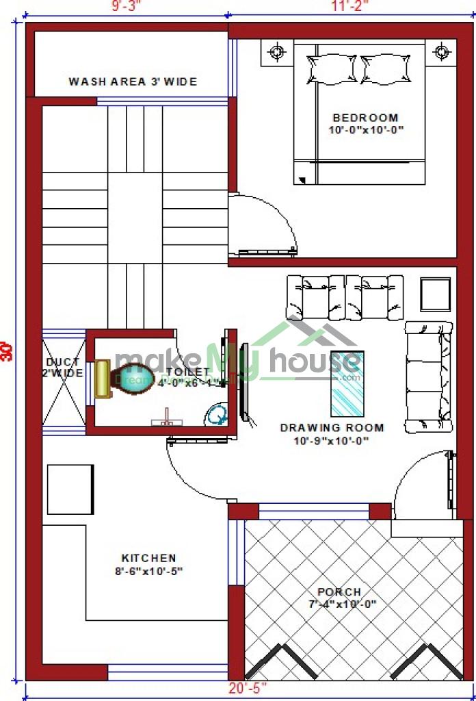 Buy 20x30 House Plan 20 By 30 Elevation Design Plot Area Naksha